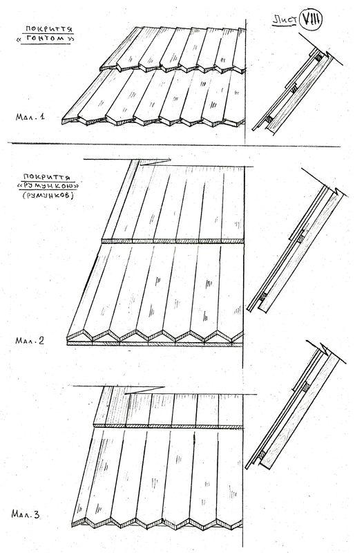 Лист 8. Покриття ґонтом і румункою